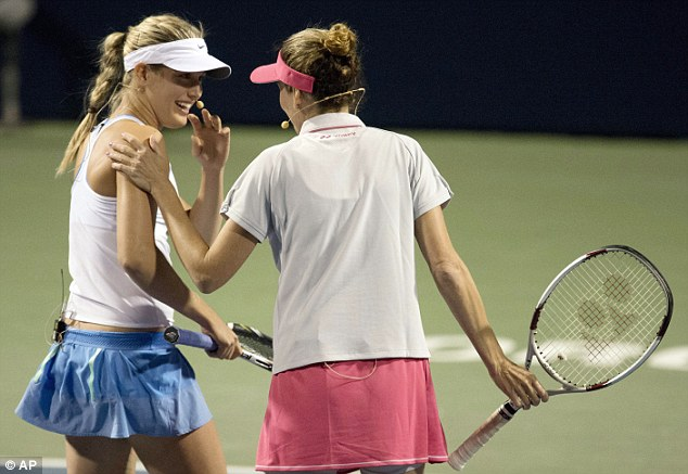 Still smiling: Bouchard (left) and Seles lost 8-5 to the formidable Williams sisters