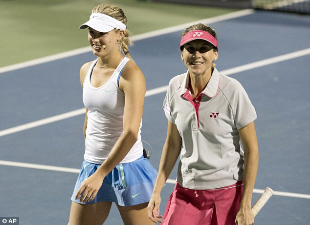 All smiles: Eugenie Bouchard (left) with partner Monica Seles during the exhibition doubles match