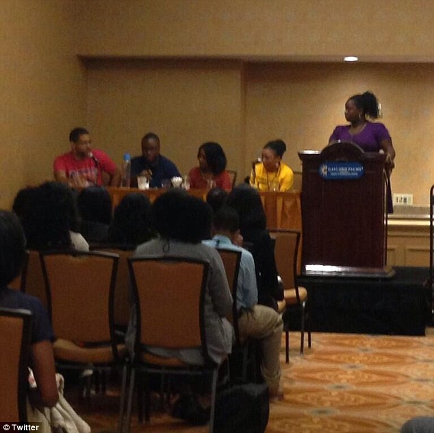 Gathering: The incident happened in Orlando, where (left to right) Smith, Douglas and their co-host Jemele Hill attended a convention organized by the National Association of Black Journalists