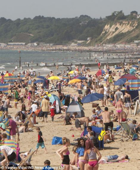 The heatwave on Bournemouth beach a week ago