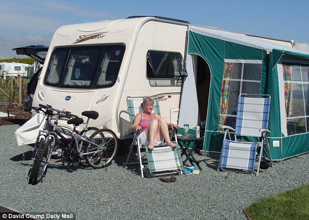 Katherine McLelland enjoying the luxury £30,000 caravan on holiday before it was stolen