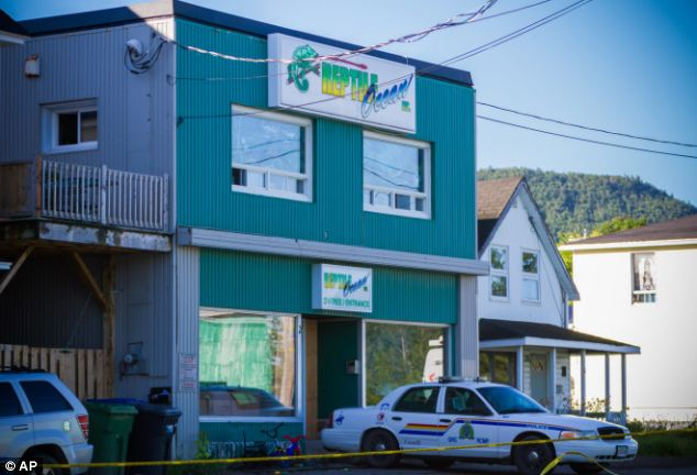 Scene: The boys had been staying in the apartment above Reptile Ocean, a pet shop in the small city of Campbellton in New Brunswick, Canada. A Royal Canadian Mounted Police cruiser sits outside the store on Tuesday