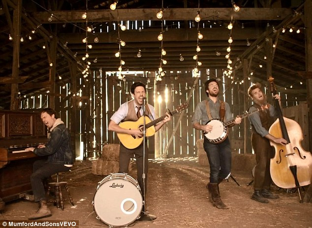 Stereotypical: The music video shows the faux folk rockers performing in a barn under a string of bare lightbulbs
