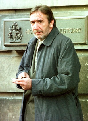 Convicted: This picture, taken in 1998 when McAnea was aged 48, was at his trial for forgery which landed him a 10-year stretch, although this was later overturned