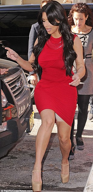 Little secret: Kim Kardashian and Kelly Osbourne have been spotted flashing their Spanx before