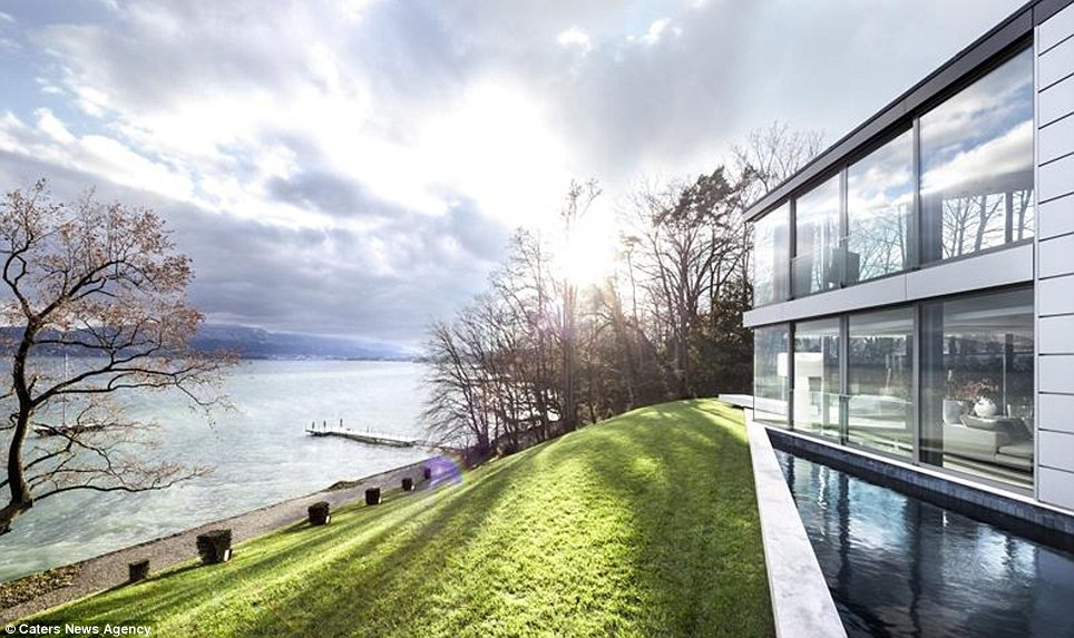 View: The mansion looks out over Lake Geneva, giving its new owner a spectacular landscape