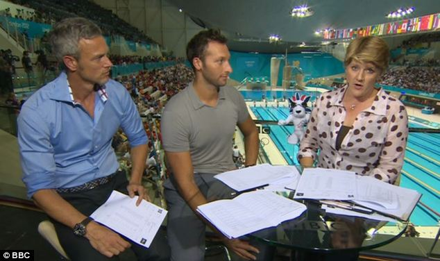 Clare Balding commentating for the BBC Olympics coverage, with Mark Foster, left, and Ian Thorpe, claims that older women are negatively treated on television