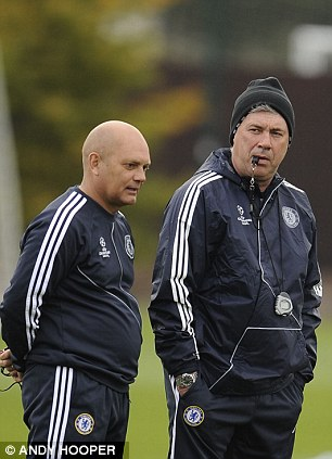 Carlo Ancelotti (right) with Ray Wilkins (left) at Chelsea