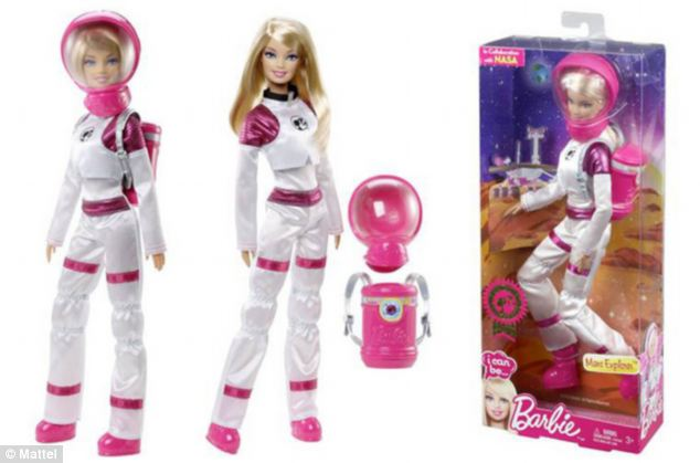 Toy maker Mattel has teamed up with Nasa to launch Mars Explorer Barbie, pictured. The doll comes with a spacesuit and oxygen tank and was launched to celebrate the Curiosity Rover's first birthday on the red planet on 5 August