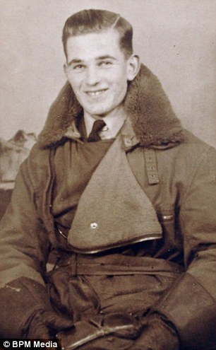 Pictured as an 18-year-old, Mr Moss flew 40 missions on Wellington bombers in World War Two