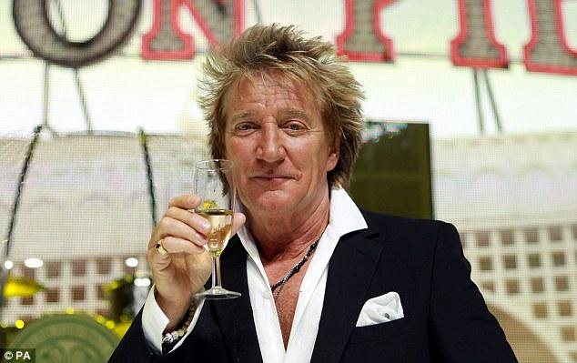Cheers: Singer Rod Stewart had Liam with ex-wife Rachel Hunter (pictured below)