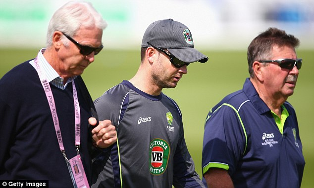Walking and talking: Australia captain Michael Clarke (centre) with selectors John Inverarity (left) and Rod Marsh during practice at the Emirates ICG Durham