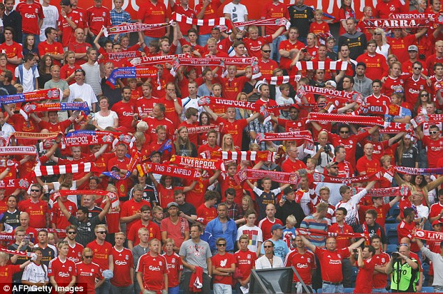 Popular: Liverpool fans in Oslo show their support for Brendan Rodgers' team