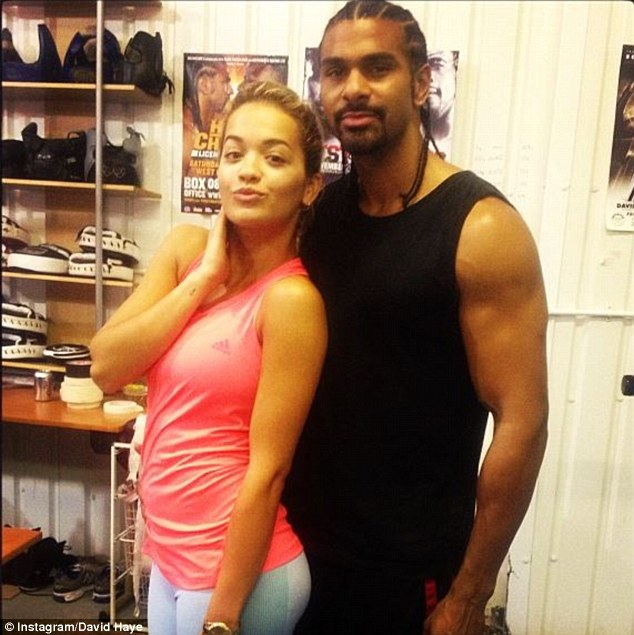 Team: Haye shared a photo of him and Rita Ora after sparring at his gym