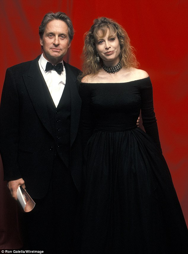 Hung on too long: Michael Douglas admitted in a new interview that he and ex-wife Diandra Luker should have divorced far sooner than what they did, in 2000, pictured together in 1994