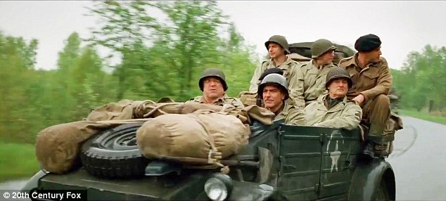Unlikely platoon: The men are seen in a car as they drive along wearing their army fatigues