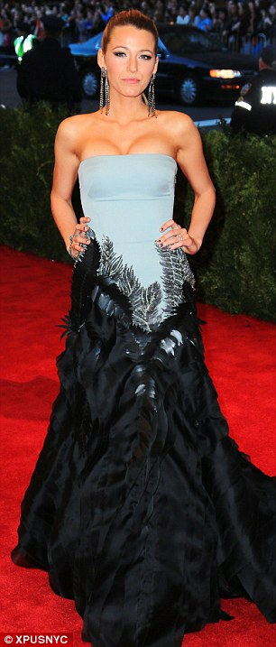A fan of feathers? Blake steps out in another feathery number at the Met Gala in May 2013