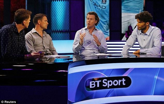 Opening night: (left to right) BT Sport's Jake Humphrey, Michael Owen, Steve McManaman and David James