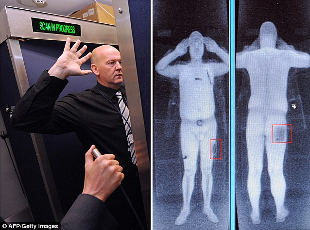 At present airport scanners are designed specifically to identify explosive on the body, not inside it