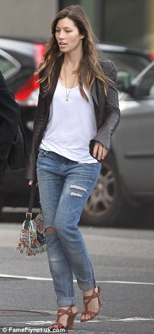 Mini-break: Ripper jeans and a white T-shirt showed that Jessica was in town for fun, not work