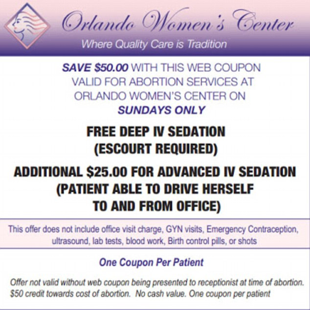 Outrage: A Florida abortion clinic is offering discount abortions