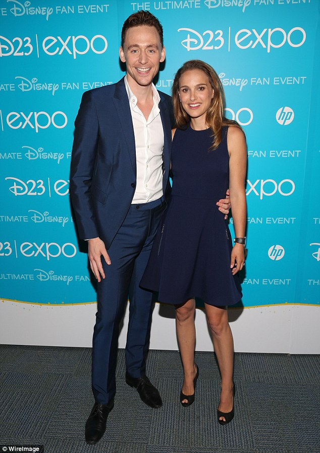 Babes in blue: The Thor co-stars were both impressive in navy blue outfits