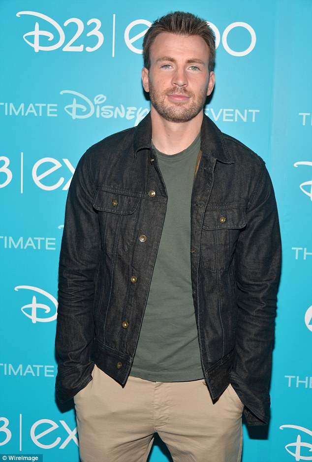 It's Captain America! Chris Evans left his patriotic spandex superhero suit at home, making a much more casual appearance in Anaheim on Saturday for The Winter Soldier