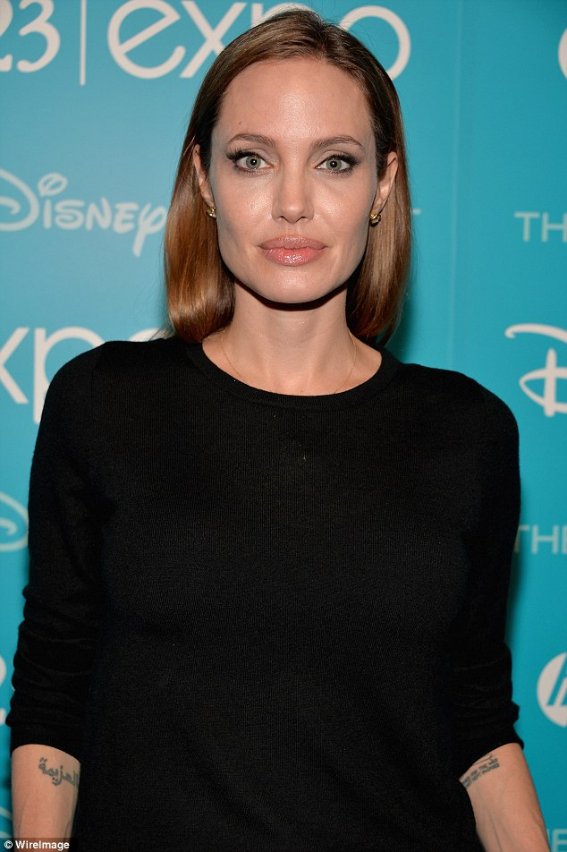 Method acting: The star looked intense with her heavily lined eyes and all-black outfit as she hit the black carpet for Disney's D23 Expo presentation