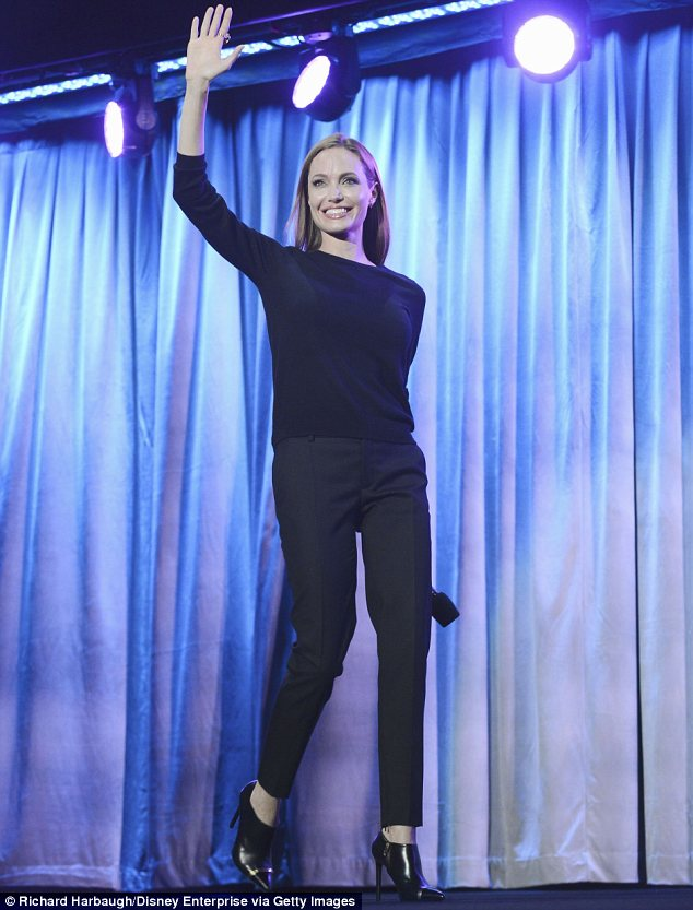 Happy to be here: The actress gave a hearty wave as she took to the stage to discuss the movie