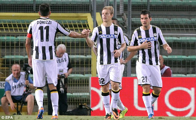 Target: Udinese forward Matej Vydra (centre) is a target for Premier League side West Brom