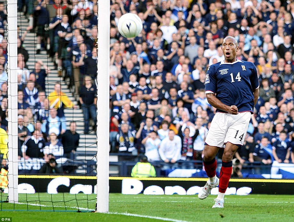 Andrew Milligan of PA captures the horror on Chris Iwelumo's face as the Scotland striker misses an open goal against Norway at Hampden Park, Glasgow in 2008