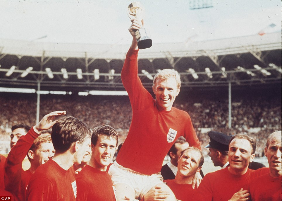 England captain Bobby Moore is held shoulder high by his teammates after leading the side to World Cup glory in 1966 with a 4-2 win against West Germany