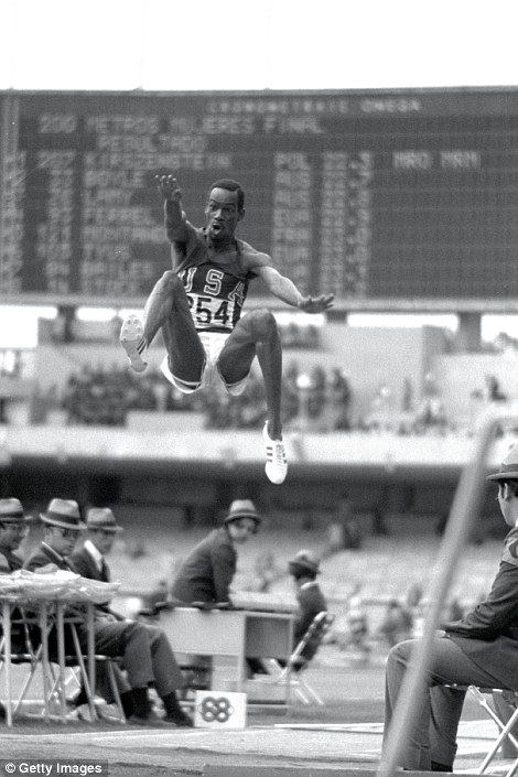 Tony Duffy captures American long jumper Bob Beamon soaring through the air to a world record of 8.90m at the 1968 Olympic Games in Mexico City