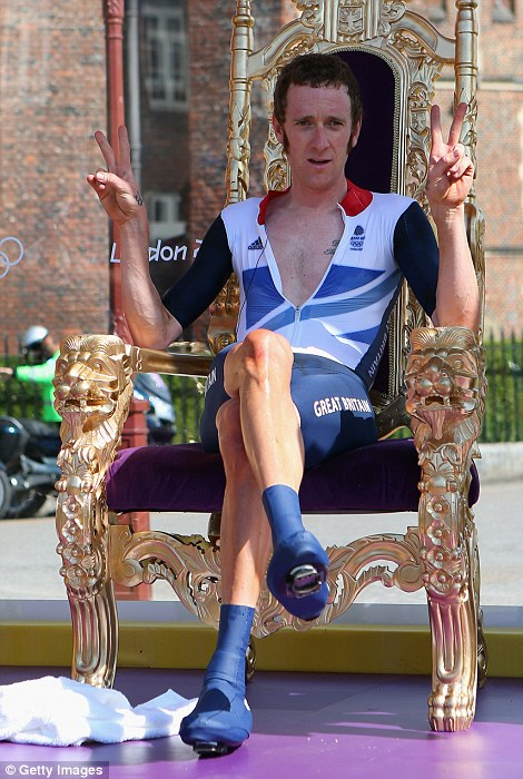 Alex Livesey of Getty Images snapped Sir Bradley Wiggins sitting on a throne after winning gold in the London 2012 Olympics time trial