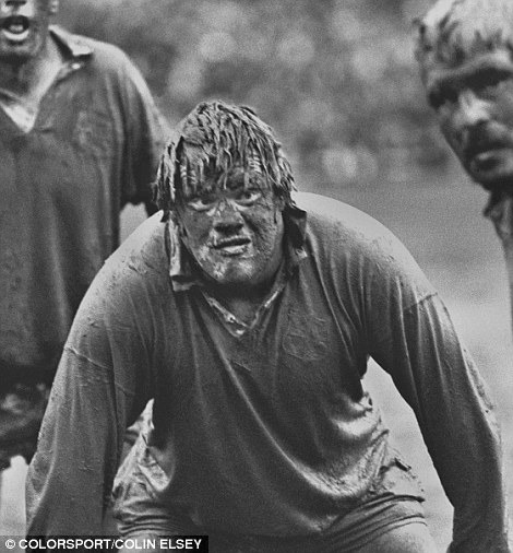A classic rugby union photo from Colorsport's Colin Elsey of 'The Mud Man' Fran Cotton during the British Lions tour of New Zealand in 1977