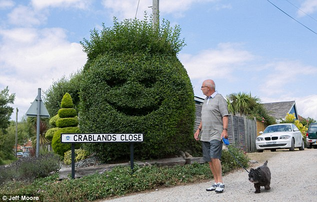 Chin up: Dog walker Dave Richards, 66, said the enormous smiley face always cheers him up