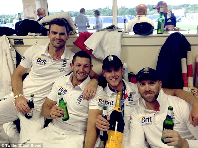 Broad smiles: Stuart Broad posted this picture of himself, James Anderson (left), Tim Bresnan (second left) and Matt Prior (right) with the message 'What an amazing Test match win! Love these guys! #england #ashes #WON'