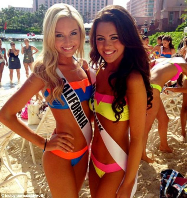 Beauty queen: Months ahead of the pageant, 19-year-old Wolf (left) was the victim of cyber-crime