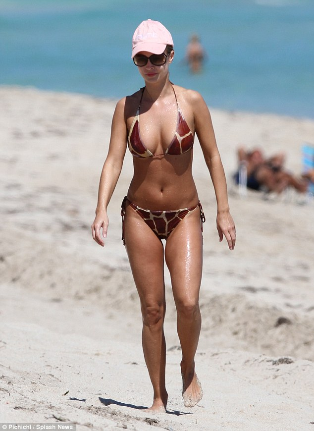 Feels most at home: Joanna is often snapped wearing a skimpy bikini, pictured in Miami