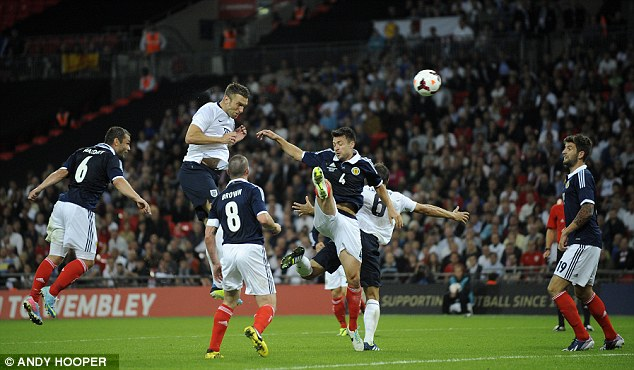 Heads up: Rickie Lambert scored England's winner with this bullet header after coming on as a sub