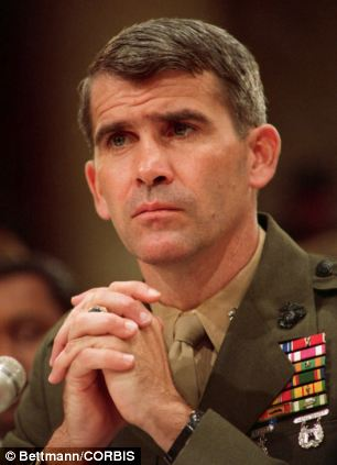 07 Jul 1987, Washington, DC, USA --- Marine Lieutenant Colonel Oliver North testifies before the House and Senate Iran-Contra committee during his first day of public testimony