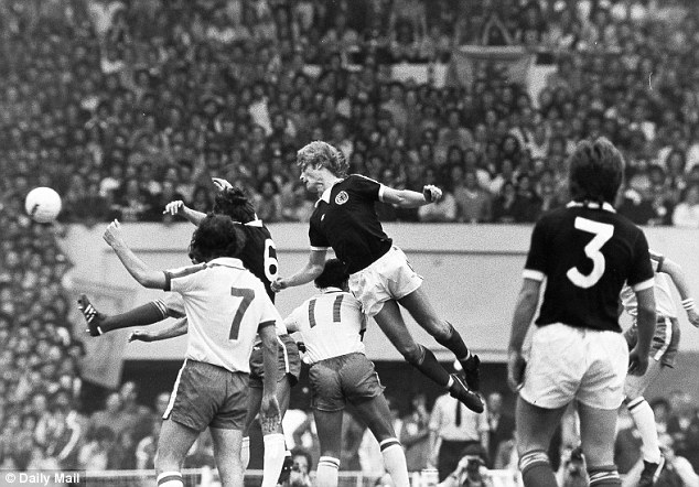 Remember this? Scotland's Gordon McQueen scores for his country at the same stadium in 1977
