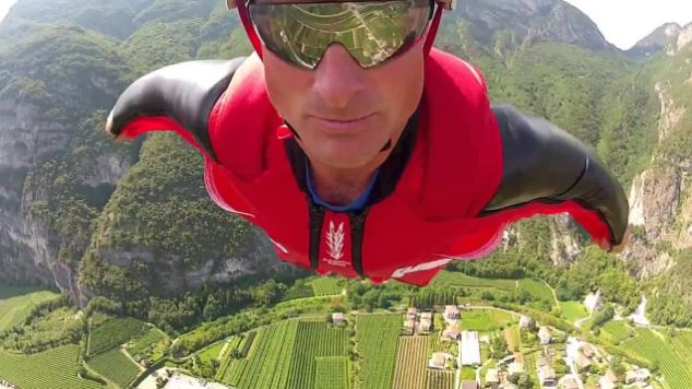 Daredevil: Mr Sutton in a wingsuit flight earlier this year