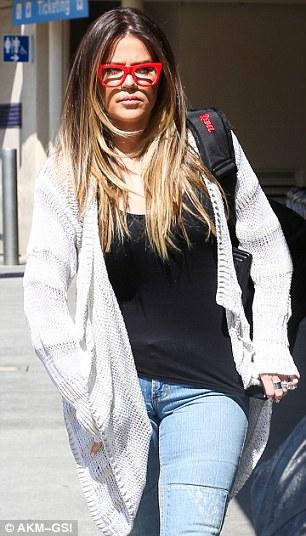 Keeping her head down: Khloe was seen looking glum in Los Angeles last week