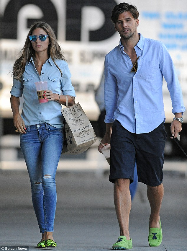 Coordinating couple: Olivia Palermo and Johannes Huebl matched their ensembles as they stepped out in Brooklyn, New York on Thursday
