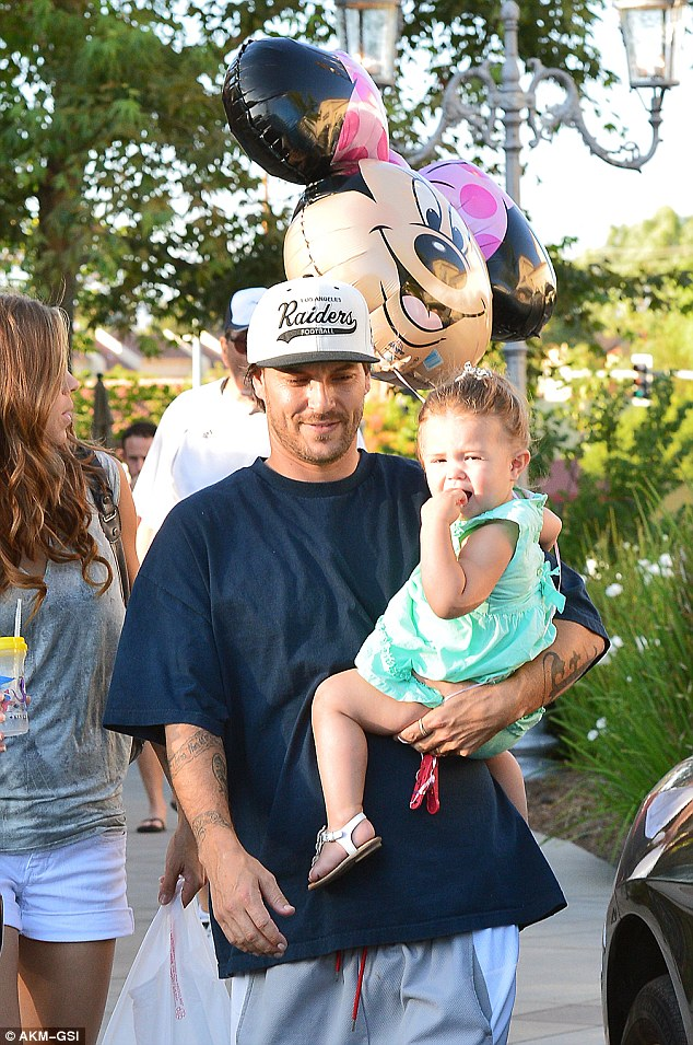 Time flies: Kevin Federline and new wife Victoria Prince celebrated daughter Jordan Kay's second birthday on Thursday with a family meal at King's Fish House in Calabasas, California