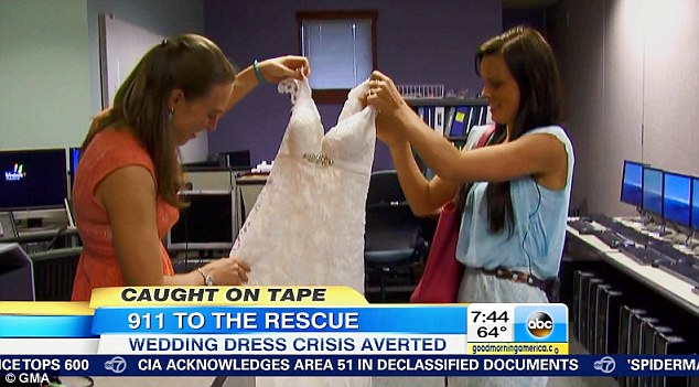Bonded over a dress: Both brides wore this white dress which was purchased in the same store and worn 18 months apart