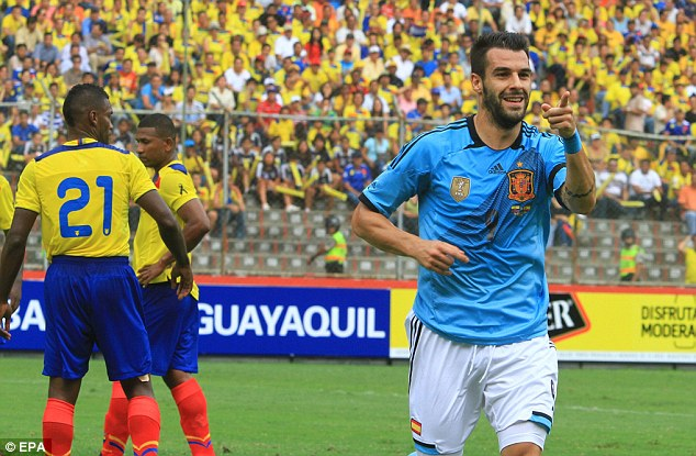 Long haul: Alvaro Negredo was one of the Spanish players who flew nearly 12,000 miles to Ecuador and back