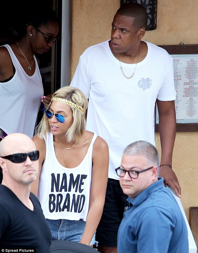 Couple time: Jay Z and Beyoncé enjoyed a relaxed lunch together before he plays in Miami and she jets off to the UK
