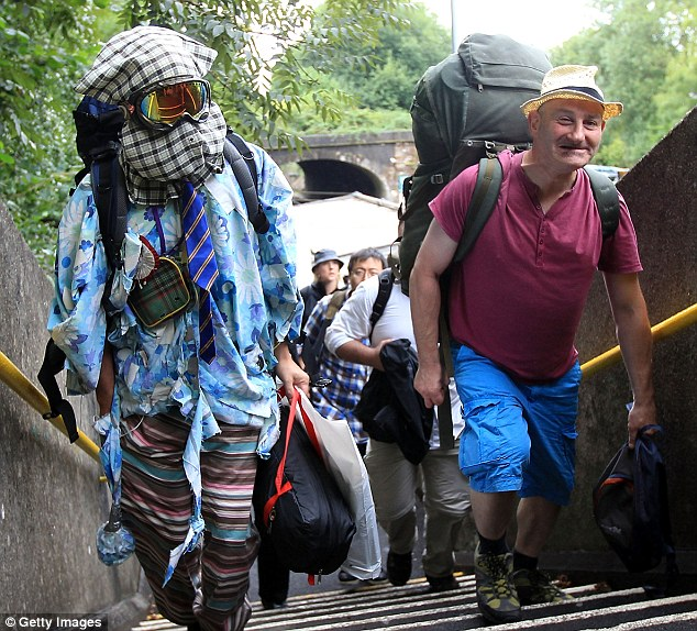 Here for the duration: These two activists were among many who started to arrive at Balcombe today, here at the railway station